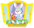 Easter bunny watering flowers little rabbit on a windowsill Stock Photo