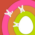Easter bunnys background colourful with cute vector illustration Stock Image