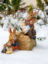 Easter bunnys snow Royalty Free Stock Images