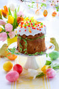 Easter cake and colourful eggs Stock Photo