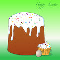 Easter cake cupcake and egg vector illustration of Royalty Free Stock Image
