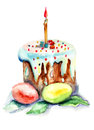 Easter cake and easter egg watercolor illustration Stock Photography
