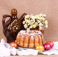 Easter cake and easter eggs with flowe Stock Photography