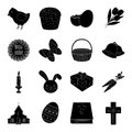 Easter cake, egg, chicken, rabbit, butterfly and other attributes. Easter set collection icons in black style vector