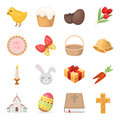 Easter cake, egg, chicken, rabbit, butterfly and other attributes. Easter set collection icons in cartoon style vector