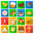 Easter cake, egg, chicken, rabbit, butterfly and other attributes. Easter set collection icons in flat style vector