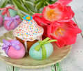 Easter cake and eggs Stock Photo