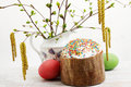 Easter cake eggs birch branches Royalty Free Stock Photo