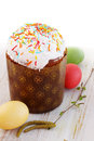 Easter cake eggs birch branches Stock Images