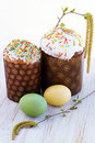 Easter cake eggs birch branches Stock Photography