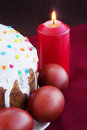 Easter cake eggs burning candle Royalty Free Stock Photo