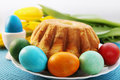 Easter cake and eggs passover holiday still life flowers Stock Photos