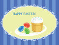 Easter cake and eggs postcard color for a Royalty Free Stock Photo