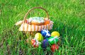 Easter cake on green spring grass a striped napkin in a basket and eggs Royalty Free Stock Images