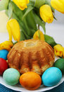 Easter cake passover holiday still life eggs flowers and Royalty Free Stock Photos