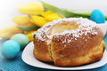 Easter cake passover holiday still life eggs flowers and Royalty Free Stock Images