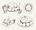 Easter cake set of vector sketches Royalty Free Stock Images