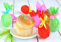 Easter cakes and colored eggs Royalty Free Stock Photography