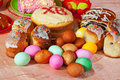 Easter cakes and eggs Stock Image
