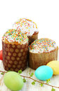 Easter cakes eggs festive still life Royalty Free Stock Photo