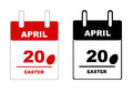 Easter calendar isolated on white Royalty Free Stock Images