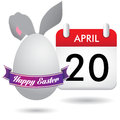 Easter calendar purple ribbon on top of an egg covering a pairof bunny hears and a Royalty Free Stock Image