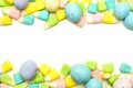 Easter candy frame over white double edge border a background Stock Images