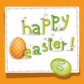 Easter card baby birds hatched easter egg cute bunny Stock Photos