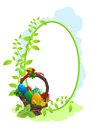 Easter card with basket with dyed eggs and leaves Royalty Free Stock Images