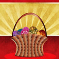 Easter card with basket of eggs Stock Images
