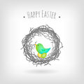 Easter card bird nest Stock Photo