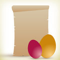 Easter card blank old parchment and colorful eggs background for Stock Image