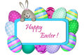 Easter card with bunny and eggs around the greetings board Stock Images