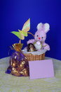 Easter Card - Bunny , Eggs in Basket - Stock Photo Stock Photos