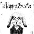 Easter card with bunny hipster