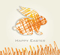 Easter card with bunny sketch happy Stock Images