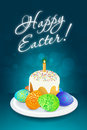 Easter card with cake candle and eggs Stock Photos