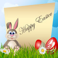 Easter card with cartoon bunny and eggs red text background Royalty Free Stock Photography