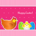 Easter card with chicken, chick and two eggs Royalty Free Stock Image