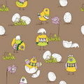Easter card with chicks and eggs Stock Images
