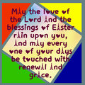Easter card color triangles and square text.