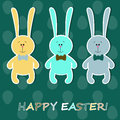 Easter card with colorful rabbits Royalty Free Stock Photos