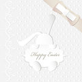 Easter card cute bunny shiny satin bow Royalty Free Stock Images