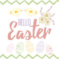 Easter card with cute hand drawn small chicken, easter eggs, narcissus and text. Royalty Free Stock Photo