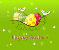 Easter card with decorated eggs in nest and birds Stock Images