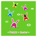 Easter card design cute colorful rabbits on bright green background holiday vector illustration Stock Photos