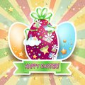 Easter card with easter eggs and banner illustration Royalty Free Stock Photo