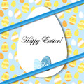 Easter card with egg and blue bow sticker on pattern eps Stock Images