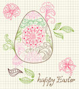Easter card with egg and floral ornament Royalty Free Stock Photos