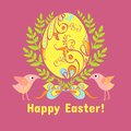Easter card with eggs, flowers and birds Stock Images